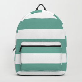 Green Sheen - solid color - white stripes pattern Backpack