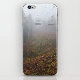 Foggy mountains fall morning iPhone Skin