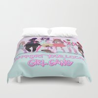 patriarchy Duvet Covers featuring Support your local girl gang by ♡ SUSHICORE ♡