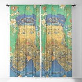 PORTRAIT OF JOSEPH ROULIN - VINCENT VAN GOGH Sheer Curtain