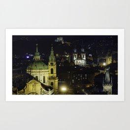 Prague at Night Art Print