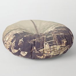 paris skyline aerial view with eiffel tower Floor Pillow