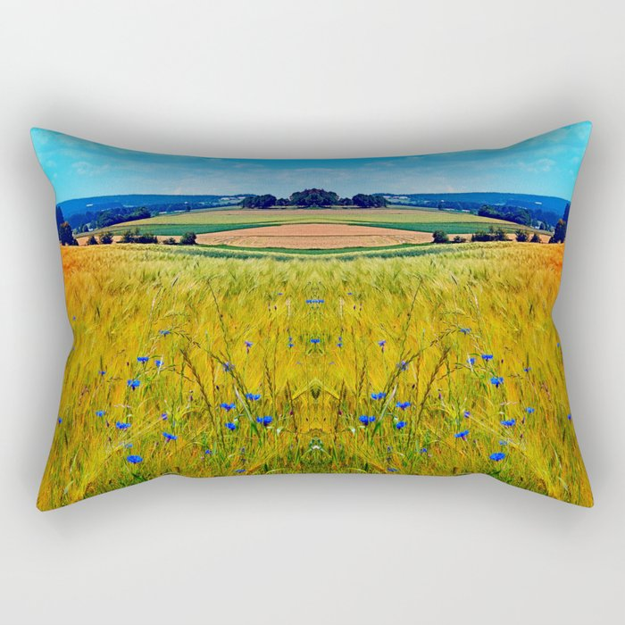 Fields of summer with flowers and scenery Rectangular Pillow