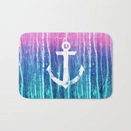 Nautical Anchor Pink Teal Watercolor Stripes Drips Bath Mat