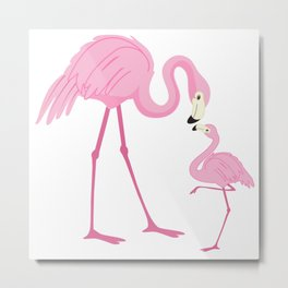 Pink flamingo with a baby Metal Print