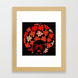 Afro Diva : Coral Red Framed Art Print
