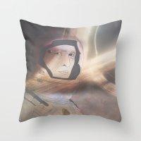interstellar Throw Pillows featuring Interstellar by Itxaso Beistegui Illustrations
