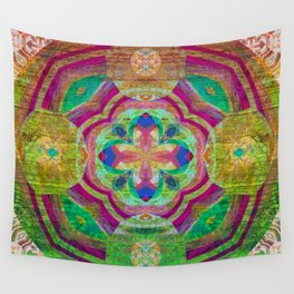 Heart Light Peaceful Wooden Mandala Print Wall Tapestry