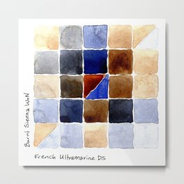Color Chart - Burnt Sienna (W&N) and French Ultramarine (DS) Metal Print