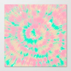 Modern boho hippie hand painted pink turquoise orange tie dye watercolor Canvas Print