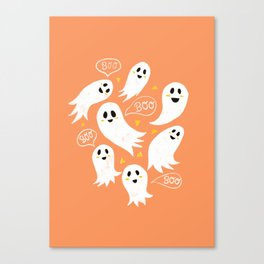 Friendly Ghosts on Orange Canvas Print