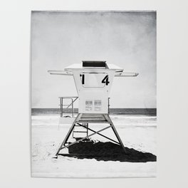 Black and White Beach Photography, Grey Lifeguard Stand, Gray Coastal Nautical Art Poster