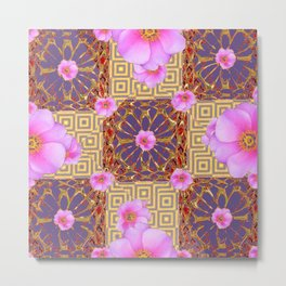 Quilted Style Fuchsia Pink Wild Rose  Grey Pattern Abstract Metal Print