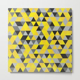 Sunny Yellow and Grey / Gray - Hipster Geometric Triangle Pattern Metal Print