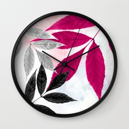 Hot Pink, Black, & Silver Leaves Wall Clock