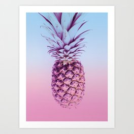 Light Blue and Pink Pineapple Art Print