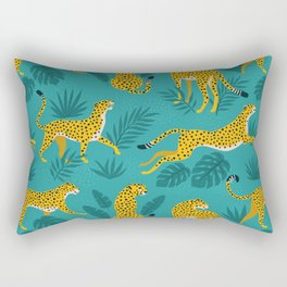 Leopard With Leaves Rectangular Pillow