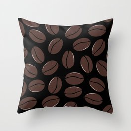 Modern seamless pattern with coffee beans Throw Pillow