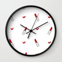 cute hand drawn red lipsticks Wall Clock