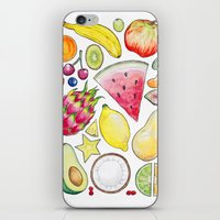 fruits iPhone & iPod Skins featuring Fruits by Hacklock