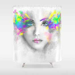 Multicolored abstractn Woman Beautiful portrait illustration Shower Curtain