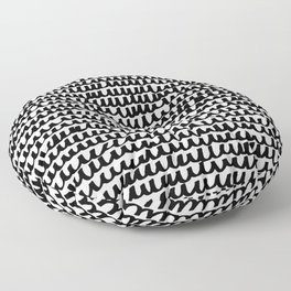 Black Wave Lines on White Floor Pillow