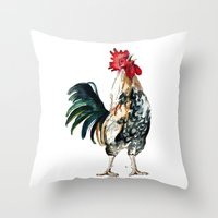 rooster Throw Pillows featuring Rooster by Bridget Davidson