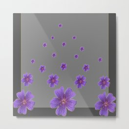 PURPLE FLOWERS COLLAGE CHARCOAL GREY Metal Print