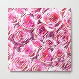 Textured Roses Pink Amanya Design Metal Print