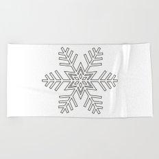 Snowflake | Black and White Beach Towel