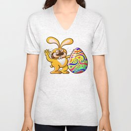 Easter Bunny Proud of his Big Decorated Egg Unisex V-Neck