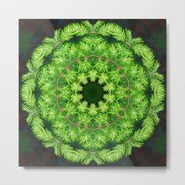 Spring green Canadian Hemlock mandala II Metal Print