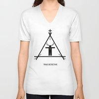 true detective V-neck T-shirts featuring True Detective by Deep Search