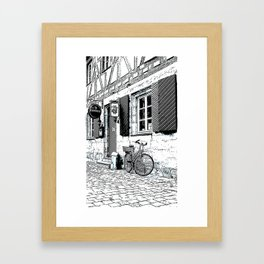The Bicycle - Pen and ink drawing Framed Art Print