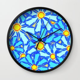Abstract daisies. Background of blue and white flowers. Wall Clock