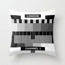 Square London TV Sign-off - Black and White Throw Pillow