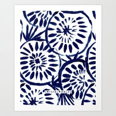 Painted Medallions Navy Art Print