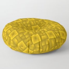 Convex rhombuses of yellow squares with dark rectangles. Floor Pillow