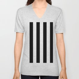Black & White Vertical Stripes - Mix & Match with Simplicity of Life Unisex V-Neck