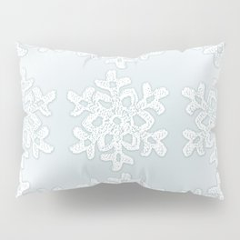 Crocheted Snowflake Ornaments on teal mist Pillow Sham
