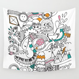 My Happy Doodle Wall Tapestry