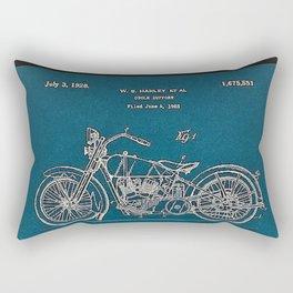 1902 Motorcycle Blueprint Patent in blue Rectangular Pillow
