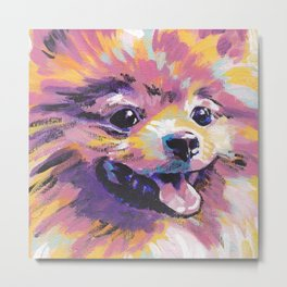 Fun Pomeranian Dog bright colorful Pop Art Metal Print
