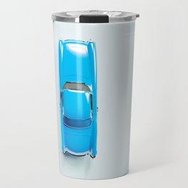 Vintage Blue Car on White Travel Mug