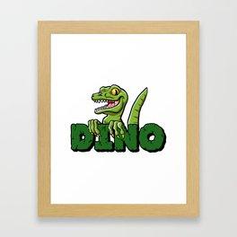 Cute dinosaur cartoon and lettering Framed Art Print
