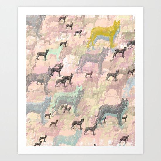 Sky Dogs - Abstract Geometric pink mauve mint grey orange Art Print
