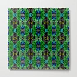 Snowflakes III in Greens Metal Print