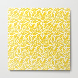 Bird and Berries Pattern Yellow Metal Print