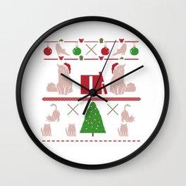 Ugly Christmas Ornaments Cats Tree Snowflakes Wall Clock