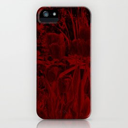 dark red art flower in stone iPhone Case